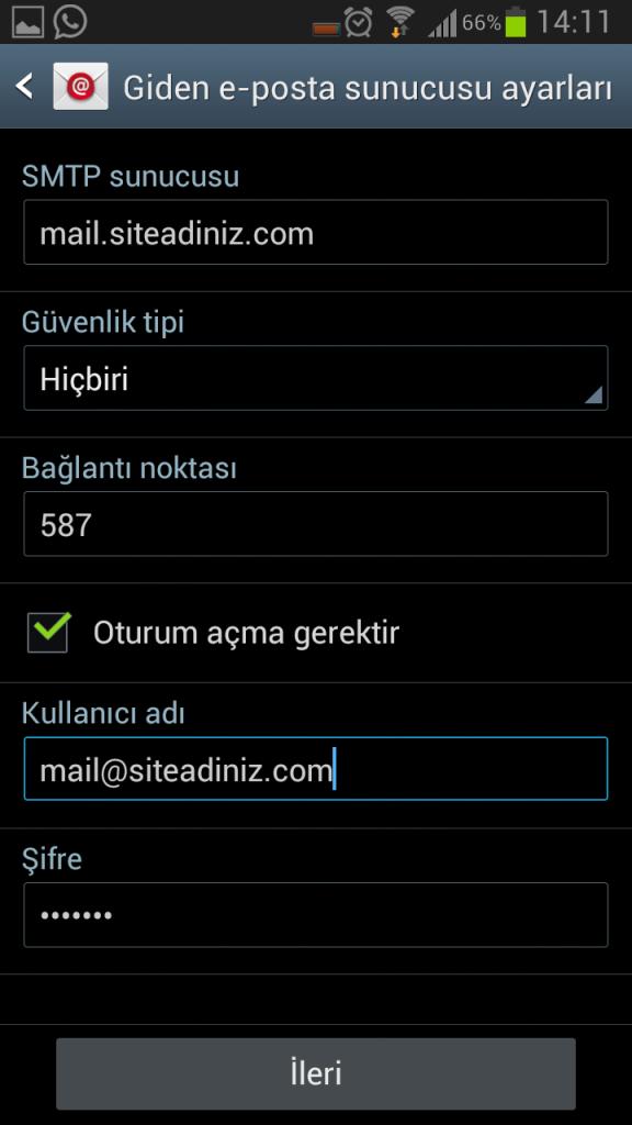 Android Mail Kurulumu